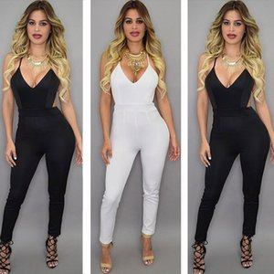 Wholesale 2017 New arrive women Jumpsuits deep V Neck fashion sexy women Rompers Straps Backless women pants Cross back Jumpsuits black