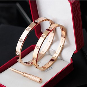 New style silver rose 18k gold plated stainless steel carter love screw bangle bracelet with screwdriver full white gem screw never lose