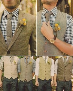 Wholesale 2019 Unique Wool Tweed Vest Style For Choose Groom Vests British Style Mens Suit Vests Farm Wedding Waistcoat Mens Dress Vests Plus Size