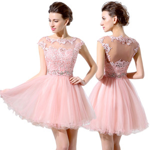 Cute Pink Short Prom Dresses Cheap A-Line Mini Tulle Lace Beads Cap Sleeves Bateau Neck 2019 Junior 8th Grade Homecoming Dress Party Dresses on Sale