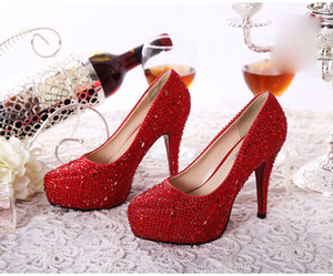 Wholesale Bridal shoes Wedding Shoes Rhinestone High Heel Party Prom Women Shoes Wed Shoes Bridesmaid Shoes White Red Champagne