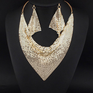 Indian Chic Style Shining Metal Slice Bib Choker Statement Necklaces Matching Earring Party   Wedding Fashion Jewelry Sets #3056