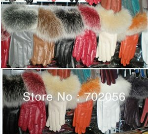 Wholesale Fox Fur Real leather gloves GLOVES pairs FASHION WARM