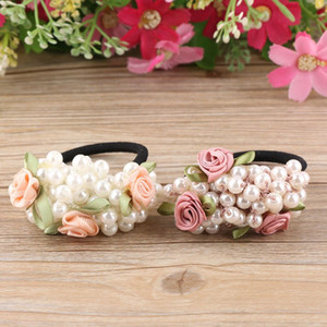 Wholesale 1 Fashion Girls hair accessories rustic small fresh flower beaded pearl headband rubber band elastic hair bands