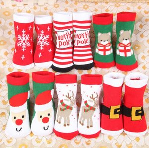 Wholesale New Winter Baby Boys and Girls Christmas Socks gifts New Year socks Children cotton socks thick terry warm