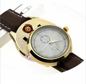 Wholesale Men watches lighter watch quartz movement USB chargeable sports Casual Wristwatches Windproof Flameless Cigarette Cigar Lighter clock