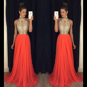 Wholesale Prom Dresses 2016 High Neck Evening Dresses Cheap Bridesmaid Dresses Orange Long Dresses Evening Wear Wedding Evening Gowns Sexy Ball Gowns