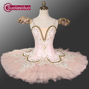 Adult Pink Ballet Tutu Professional Stage Dancewear Blue And White Classical Ballet Performance Costume Customized SD0028