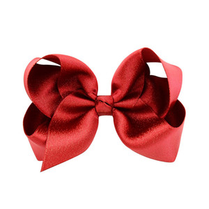 Wholesale 12pcs Pack cm Glitter Loop School Hair Bows with Clips Kids Girls Christmas Bows Green Red Navy Fashion Headbands Solid Headwear