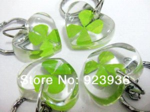 Wholesale Real Four Leaf Clover lucky Patrick s Day heart ice keychain Key Chains