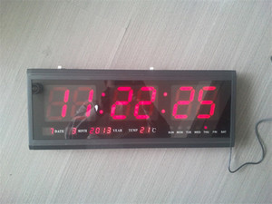 Wholesale HT4819SM Aluminum Large Digital LED Wall Clock Big Watch Modern Design Digital clock Led electronic calendar