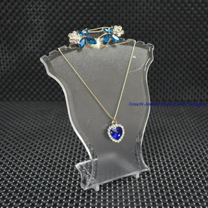 Wholesale Popular Jewelry Display Stand Black White Clear Mini Size Plastic Neck Bust Pendant Necklace Stand Earring Holder Set Stand Rack