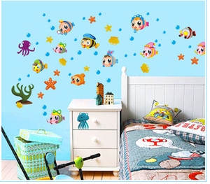 Wholesale Marine Life under the Sea Wall Decal Stickers Decor Tropical Fish Bath Room Wallpaper Art Poster