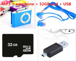Wholesale Hot sale With 8GB 16GB 32GB TF Card MINI Clip MP3 Player With Cable USB+Earphone+ Micro TF SD Card No Retail Box Music players