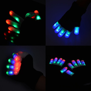 Wholesale Creative Mode LED Finger Lighting Flashing Glow Mittens Gloves Rave Light Festive Event Party Supplies Luminous Cool Gloves