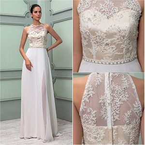 Wholesale 2017 Beach Sheath Wedding Dresses Vintage Chiffon Crystal Floor-length High Neck Split Front Zipper Sash Applique Modern Wedding Dresses