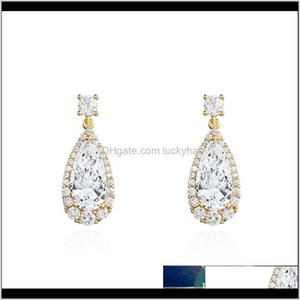 Wholesale 14k white gold chandelier earrings for sale - Group buy Dangle Chandelier Arrival K White Gold Long Pear Cut Cubic Zirconia Cz Crystal Bridal Bridesmaids Jewelry Drop Earrings Pfkw4 Bcb