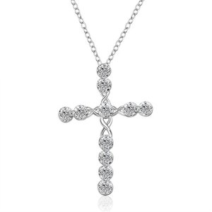 Wholesale sailing jewelry resale online - cross sailing sterling silver plated jewelry necklace for women WN668 nice silver Pendant Necklaces with chain75Q2