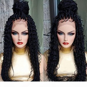 Wholesale twists for hair resale online - Long black brown ombre color Braid Wigs for Black Women Lace Front cornrow Braided Twist wigs synthetic hair kinky curly lace front wig