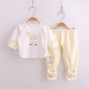 Wholesale newborn footed pajamas resale online - Newborn set foot wrapped and cotton baby s half back clothes months