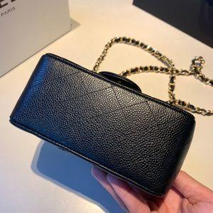 Woman wallet purses mini square classic flap bag black calfskin caviar genuine leather gold chain shoulder cross body handbags 7a quality bags purse sacs