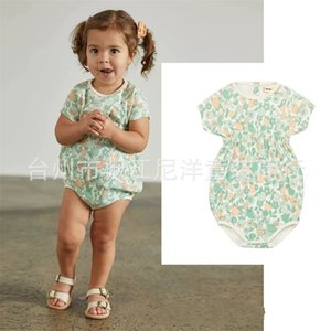 Wholesale baby beautiful clothes style resale online - EnkeliBB Misha and Puff Baby Girl Floral Romper Beautiful Vintage Style Jumpsuit Summer Misha Puff Toddler Girl Clothes Y2