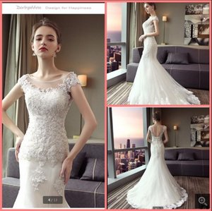 Wholesale open back wedding dresses resale online - 2021 latest style white tulle mermaid wedding dress lace appliques beaded cap sleeve gorgeous bridal gowns court train corset open back sexy summer bride dresses