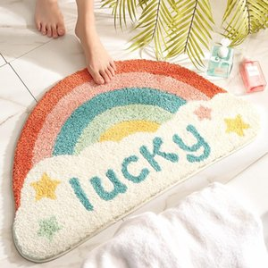 Wholesale flocked door mat for sale - Group buy Novelty Cute Semicircle Rainbow Door Mat Flocking Floor Absorbent Non Slip Bathroom Rugs Area Carpet x75cm Foot Pad Carpets