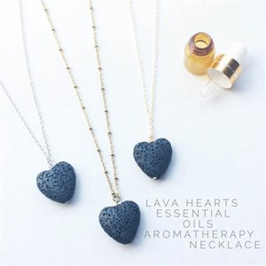 Wholesale aromatherapy necklace resale online - Hot Heart Lava Rock Pendant Necklace Colors Aromatherapy Essential Oil Diffuser Heart shaped Stone Necklaces Women Fashion Jewelry M2