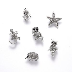 Wholesale starfish clothing resale online - Octopus Lovely Starfish Crystal Hedgehog Rhinestone Animal Owl Clothes Pin For Women Jewelry Alloy Brooch