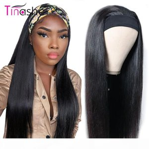 Wholesale chic wigs for sale - Group buy Tinashe Straight Head Band Wigs Human Hair Density Brazilian Straight Lace Front Wig Chic Scarf Headband Wig For Black Women
