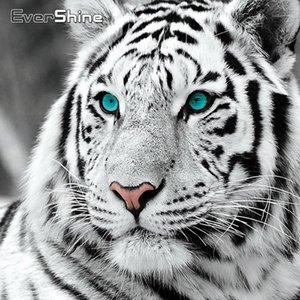 Wholesale tiger paintings for sale - Group buy EverShine Arrivals Painting Animals Cross Stitch DIY Bead Embroidery Diamond Art Tiger Sale Handwork Home Decor1 YN8S