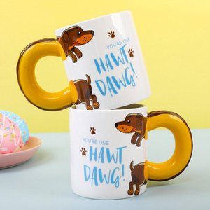 Wholesale mugs dogs resale online - 450ml Cartoon Dachshund Sausage Pet Dog Coffee Mugs Creative Tea Milk Home School Ceramic Cups Birthday Xmas Gift For Child