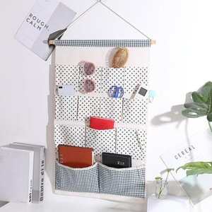 Wholesale toy organizers resale online - Cotton Linen Wardrobe Organizer Dots Stripes Wall Mounted Sundries Storage Bag Cosmetic Toys Sunglasses Pen Hanging Boxes Bins