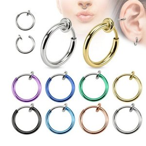 Wholesale nose hoops resale online - 1pc Punk Bar Lobe Piercing Tongue Belly Lip Nose Rings Body Clip Hoop Cartilage Earrings For Women Septum Piercing Jewelry Gift Q2