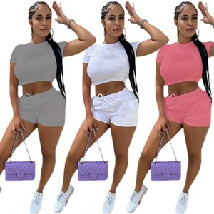 Wholesale women s white jogging suit resale online - Plus size Letter Print Tracksuits Summer Women Clothes S XL White Outfits Crop Top Mini shorts Yoga Jogging Suits Short Sleeve Tees Biker Sportswear DHL