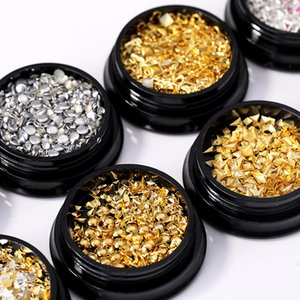 Wholesale square nail art rhinestones for sale - Group buy QualityRose Gold Silver Rivet Nail Studs Geometry Star Beads Clear Crystals AB Gold D Round Square Nail Art Rhinestones Decoration