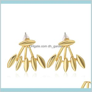 Wholesale jackets spikes resale online - Rock Punk Spike Smooth Marquise Shape Earrings For Women Party Jewelry Gold Silver Plated Metal Jacket Drud6 Jhjlo
