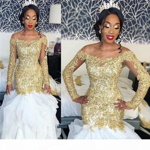 Wholesale bellanaija long dress resale online - Sexy Plus Size Mermaid African Wedding Dresses with Gold Lace Appliques Long Sleeves Sequined Beaded Bellanaija Arabic Bridal Gowns