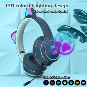 Wholesale wired video games for sale - Group buy Cat Ear Wired Headphones Micphone Channel LED Lighting Over head Headset Bass Noise Cancelling Game Video Music Flash Light Earphones