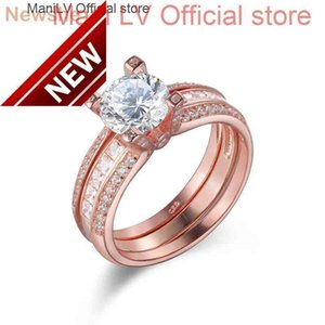 Wholesale ring guards for sale - Group buy Newshe Solid Sterling Silver Rose Gold Color Wedding Ring Set For Women Detachable Guard Band JR4579_G