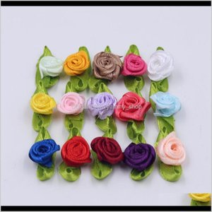 Wholesale silk rosettes resale online - Decorative Flowers Wreaths Festive Garden Drop Delivery Silk Bow Knot Mini Rosette For Home Wedding Party Ribbon Cake Cloth