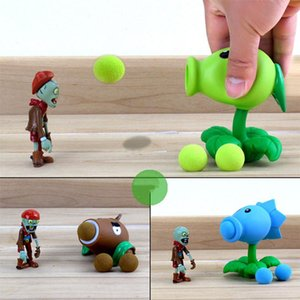 Wholesale plants zombie for sale - Group buy Plants vs Zombies Peashooter PVC Action Figure Model Toy Gifts Toys For Children High Quality In OPP Bag