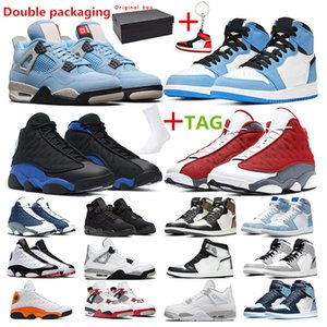 Wholesale basketball shoes men resale online - men basketball shoes jumpman s red Flint Hyper Royal s University Blue s White oreo cement Black Cat women sport sneaker trainer outddor