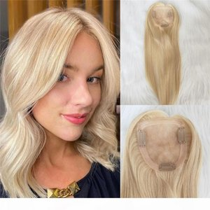 Wholesale hair topper resale online - Virgin Human Hair Topper Blonde color Slik Top Hair Toppers for Women cm base Clip in Toupee
