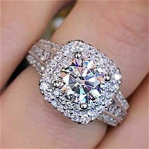 Wholesale square diamond rings resale online - 14K white gold Diamond Ring for Women Square Anillos Bizuteria Wedding bague diamant Gemstone White diamond Jewelry Ring girls Q2