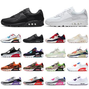 Wholesale good walking shoes for sale - Group buy 90 running shoes mens trainers triple black white have a good game Infrared s surface breathable men women sneakers sports walking hiking