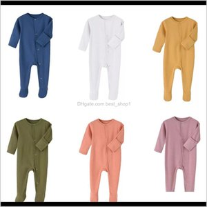 Wholesale knitted baby clothes boy resale online - Rompers Kdfn Colors Born Baby Solid Jumpsuits Long Sleeve Onesies Kids Designes Clothes Boys Infant Girls Romper Plain Knitted Cotto Oldy7