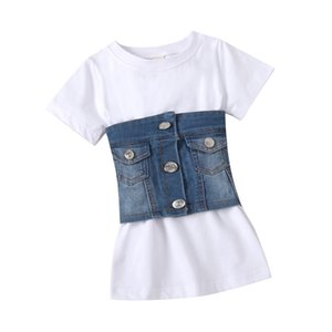 Wholesale vest striped dress for sale - Group buy Summer Fashion Kids Girls Clothes Sets Short Sleeve Solid A Line Dress Denim Blue Vest Belt Children Outfits U2