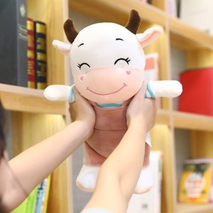 Wholesale smiley face plush toy resale online - Dolls Year of the Ox Plush Cute Smiley Face Strap Cow Doll Creative Children s Toys